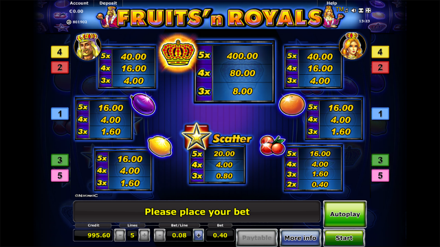 игровой автомат Fruits And Royals 3